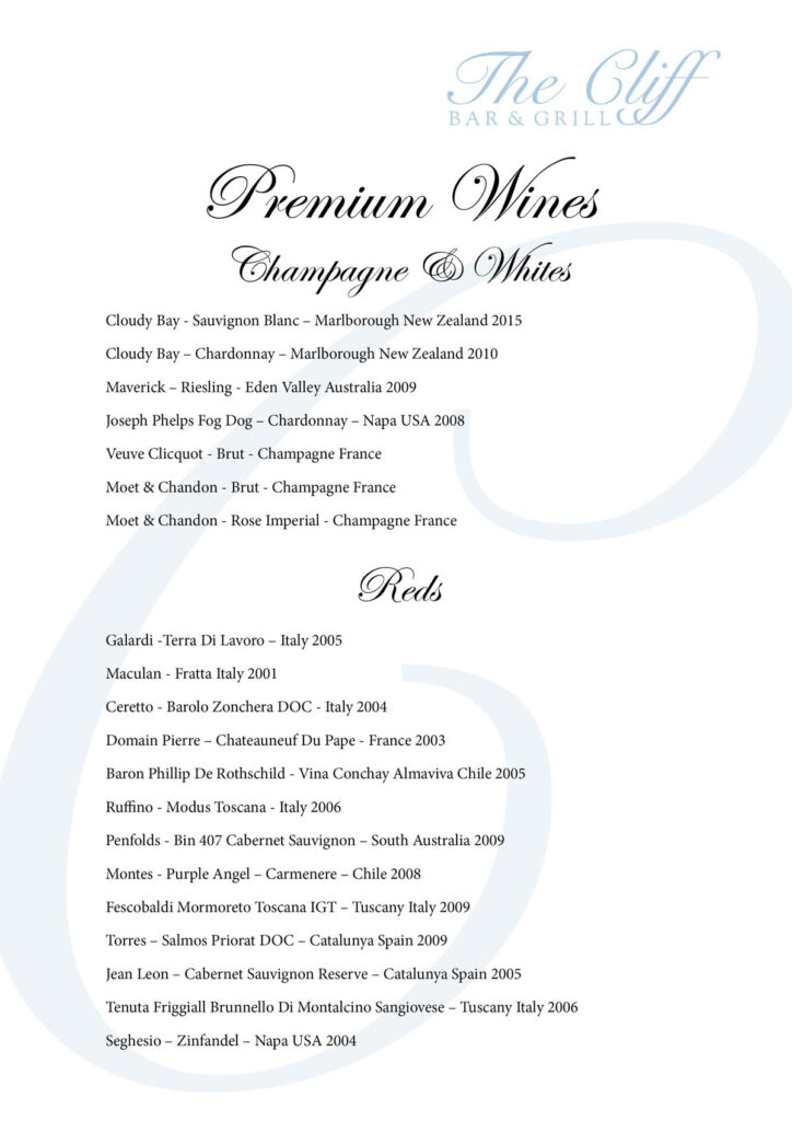 Wine list at the cliff